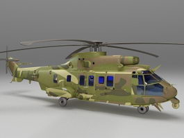 Military troop transport helicopter 3d model