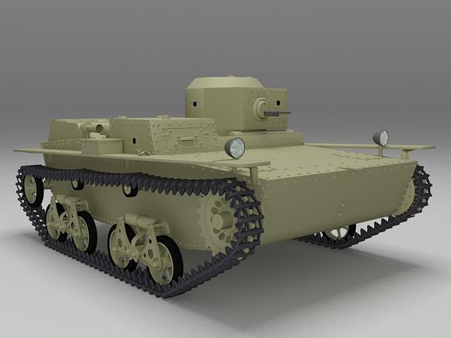 T-38 amphibious scout tank 3d model