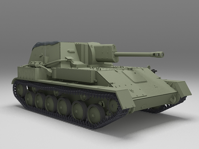 Russian SU-76 Self-Propelled Gun 3d rendering