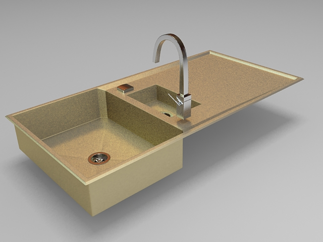 high detail 3d model of brass kitchen sink with faucet design single bowl sink with drainboard available 3d file format max autodesk 3ds max - Brass Kitchen Sink