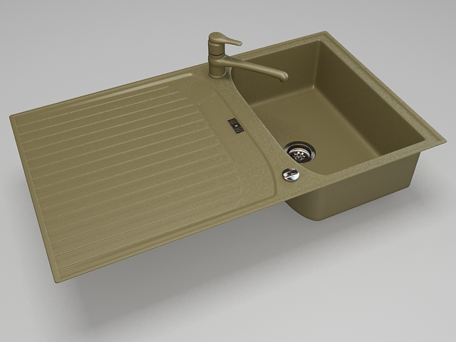 Kitchen sink with faucet 3d model