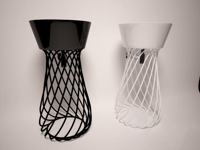 Decorative wire basin stand 3d model