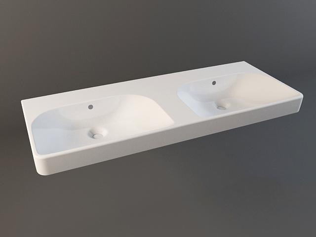 Countertop double sink 3d model