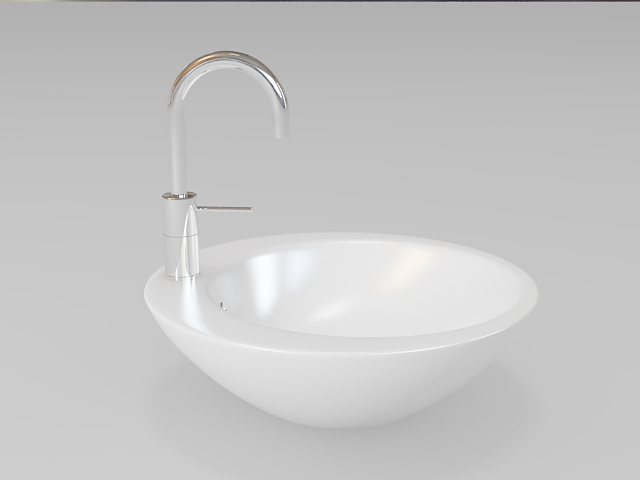 Round bathroom sink vessel 3d model