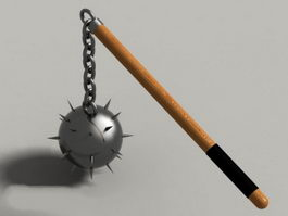 Medieval spiked ball mace 3d model