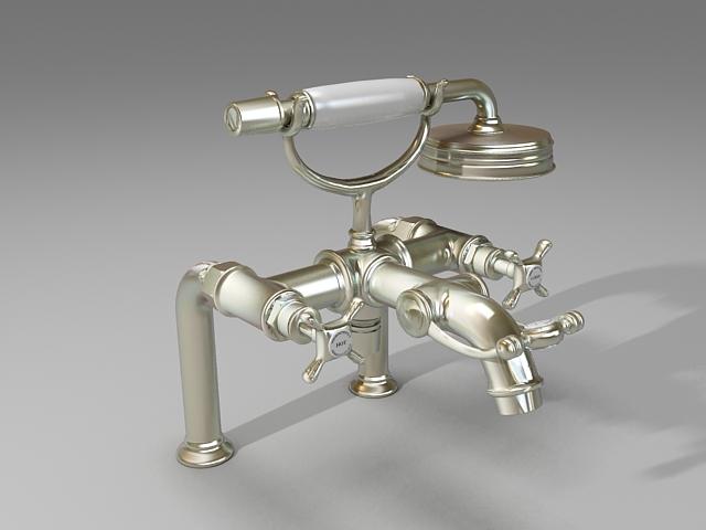 Rim-mounted bath mixer 3d model