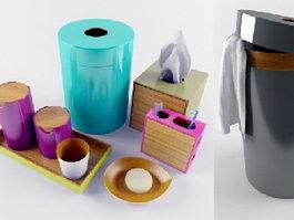 Bamboo bathroom accessories sets 3d model