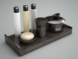 Black bathroom accessories sets 3d model