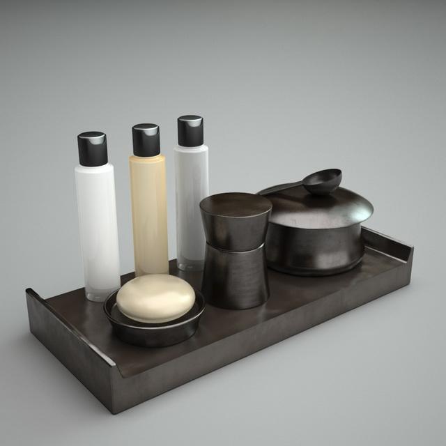 Black bathroom accessories sets 3d model