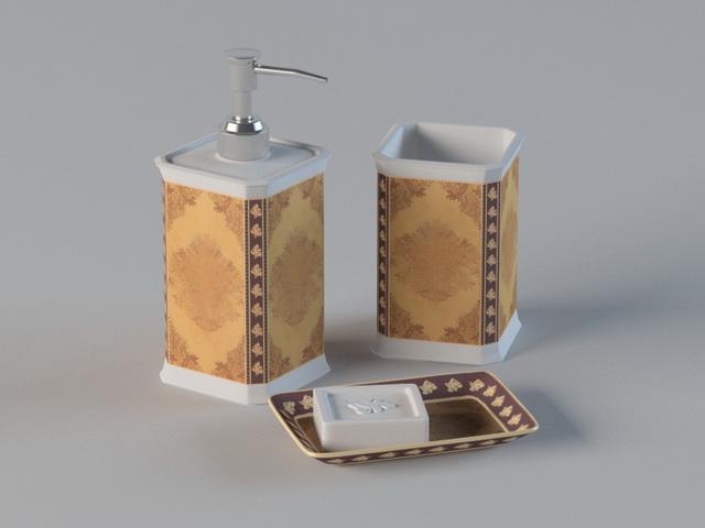 3 Piece Bathroom Accessory Set 3d model