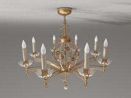 Antique brass candle chandelier 3d model