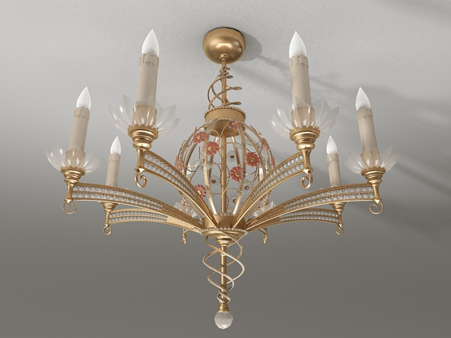 Antique brass candle chandelier 3d model 3ds Max files free ...
