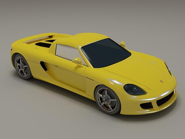 Porsche Carrera GT yellow 3d model