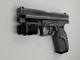 Pistol with laser 3d model