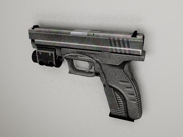 Pistol with laser 3d rendering