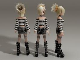 Cute blonde anime girl 3d model