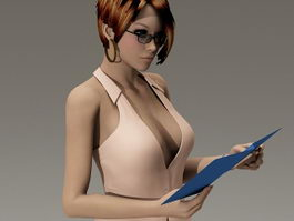 Sexy secretary 3d model