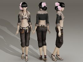 Fashion Style Asian Girl 3d model