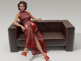Young lady sitting sofa 3d model