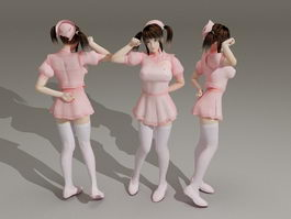 Cute Anime Nurse 3d model