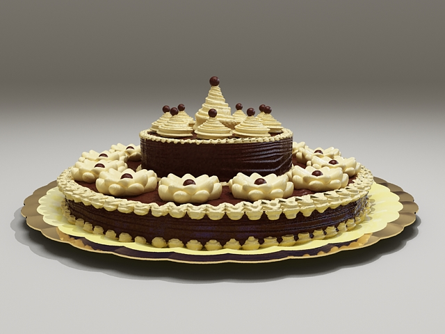 Decorating Chocolate Cake 3d model