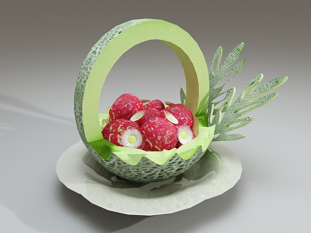 Carved melon fruit bowl 3d model