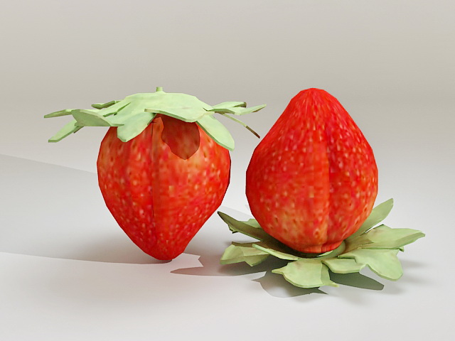 Fresh Strawberries 3d model