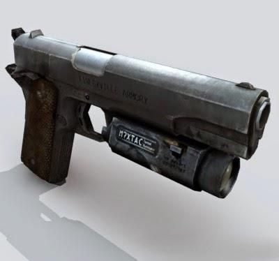 M1911 pistol with laser 3d model