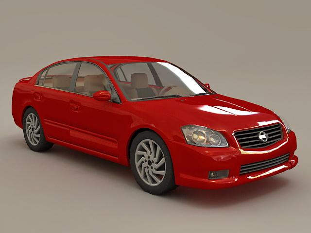Red Nissan Car 3d model