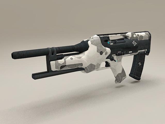 Sci Fi sub machine gun low poly 3d model
