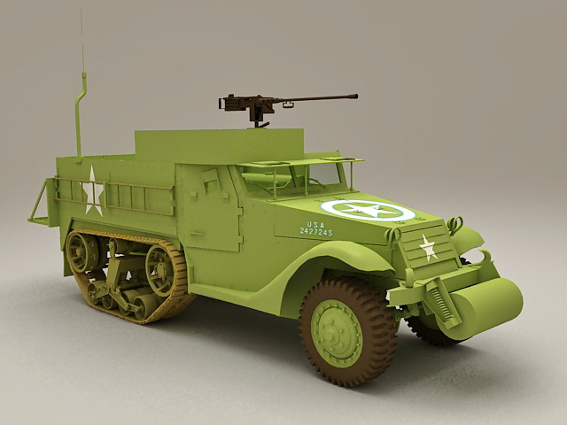 M3 Half-track personnel carrier 3d model
