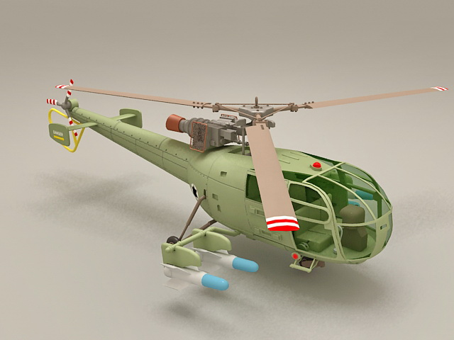 Alouette III Attack Helicopter 3d model