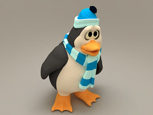 Cute Cartoon Christmas Penguin 3d model