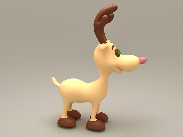 Cute deer cartoon 3d model
