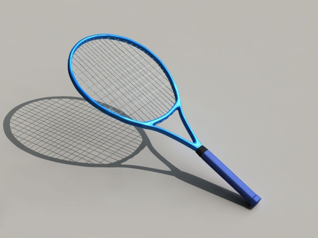 Blue Tennis Racket 3d model