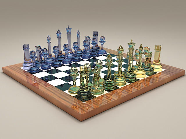 Glass Chess Set 3d model