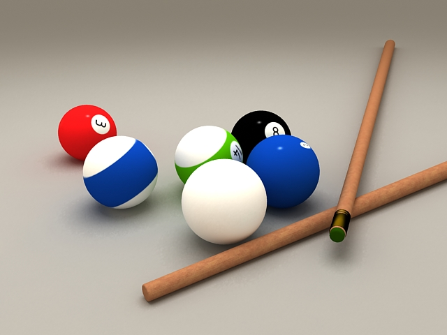 Billiard balls and cue 3d model