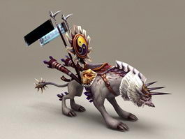 White Wolf Mount Low Poly 3d model