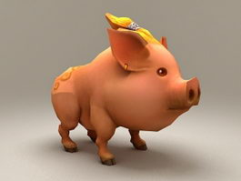 Pig Cartoon Character 3d model
