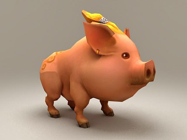Pig Cartoon Character 3d model
