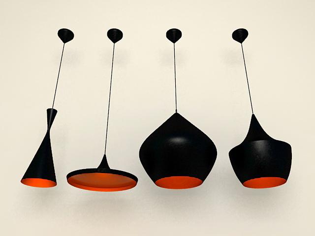 Modern black hanging lamps 3d model