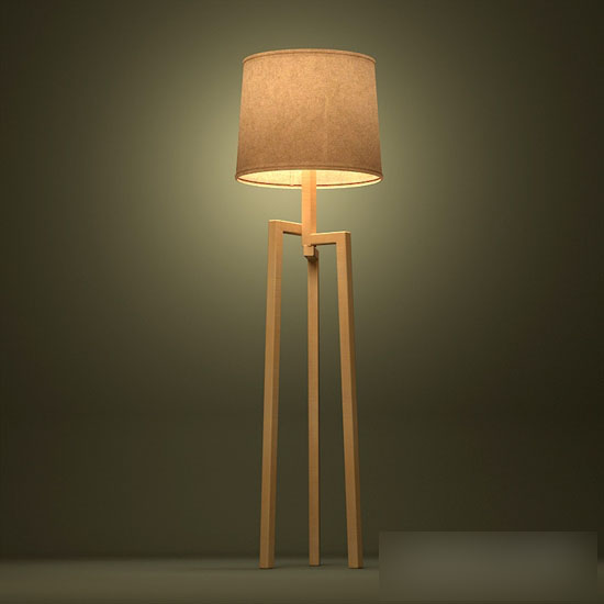 Wood Modern Floor Lamp 3d model