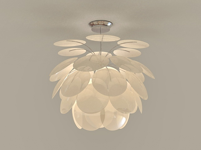 White Flower Pendant Light Fixture 3d model