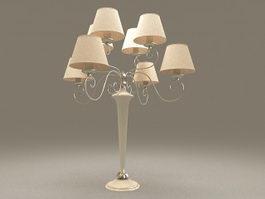 8-Arm brass chandelier table lamp 3d model