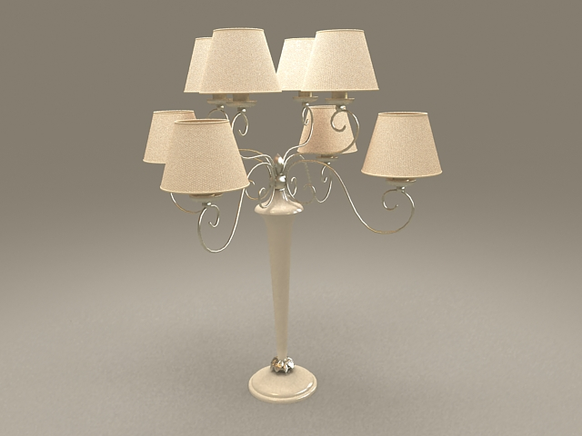 8-Arm brass chandelier table lamp 3d model