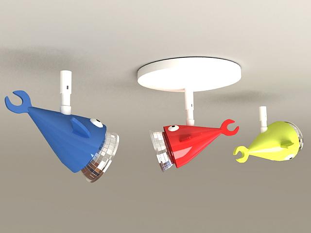 Cartoon Fish Spotlight Fixtures 3d model
