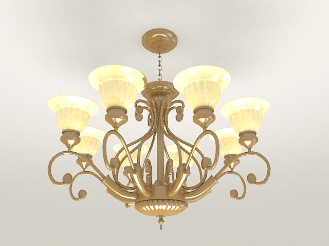 Vintage Brass Chandelier 3d model