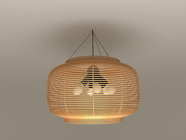 Rattan Pendant Light Fixtures 3d model