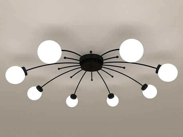 Modern Flush Mount Chandelier 3d model