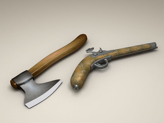 Gun and Axe 3d model